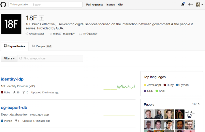 screenshot of the 18f GitHub org page