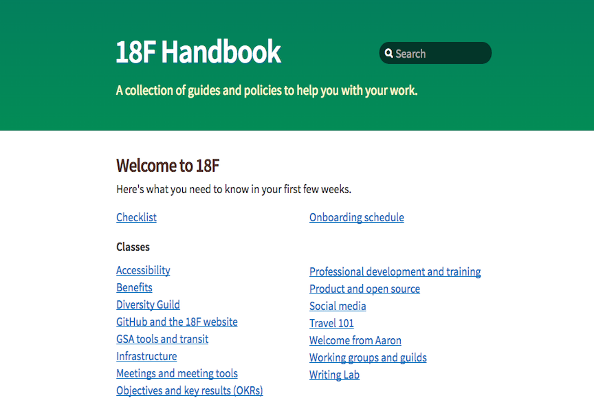 screenshot of the 18f handbook webpage