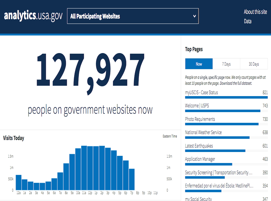 screenshot of the analytics.usa.gov page