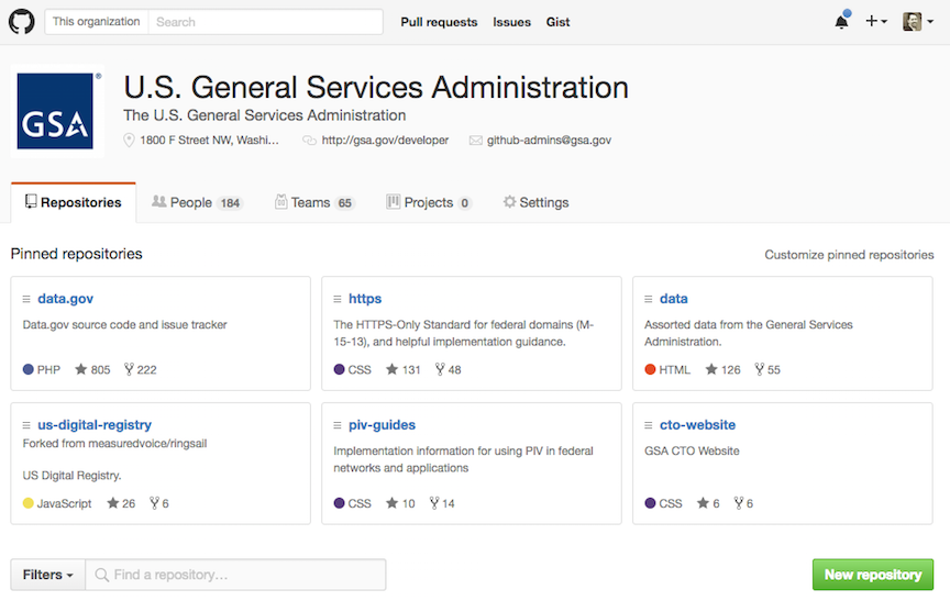 screenshot of the GSA GitHub org page