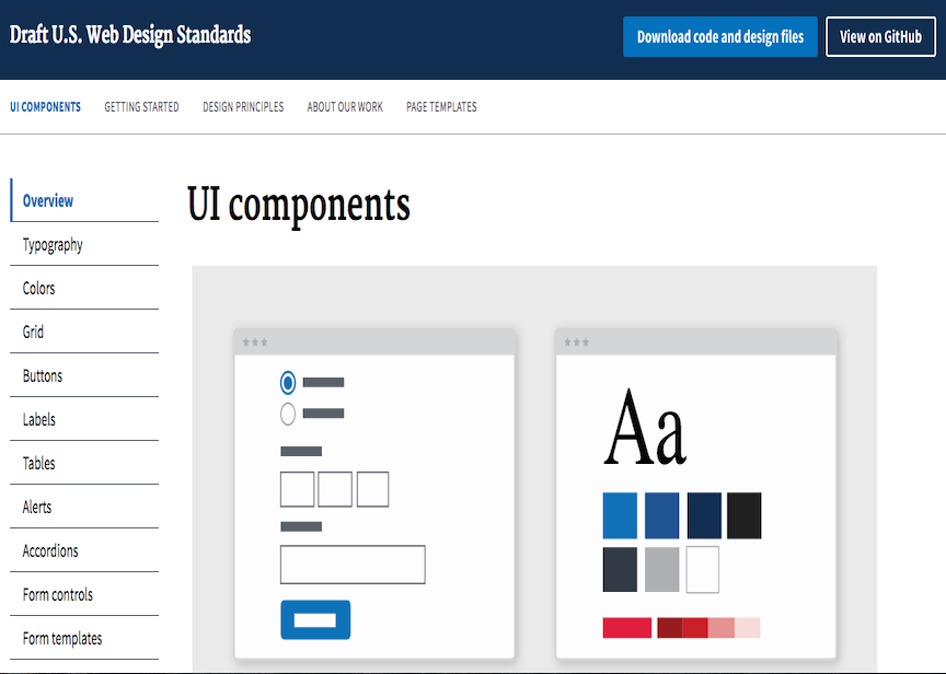 screenshot of the US Web Design Standards webpage